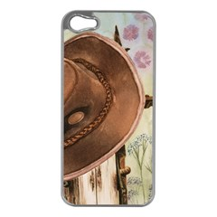 Hat On The Fence Apple iPhone 5 Case (Silver)