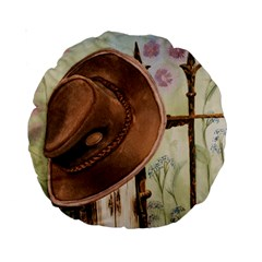 Hat On The Fence 15  Premium Round Cushion