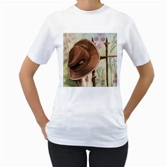 Hat On The Fence Women s T-Shirt (White)