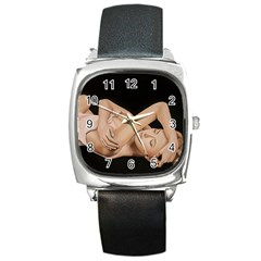 Gentle Embrace Square Leather Watch