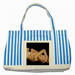Gentle Embrace Blue Striped Tote Bag