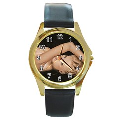 Alluring Round Leather Watch (Gold Rim)