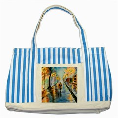 Just The Two Of Us Blue Striped Tote Bag