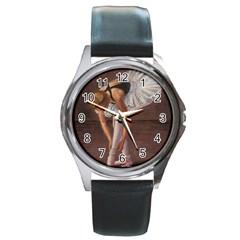 Ballerina Round Leather Watch (Silver Rim)