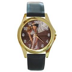 Ballerina Round Leather Watch (Gold Rim)