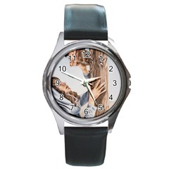 Stabat Mater Round Leather Watch (Silver Rim)