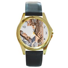 Stabat Mater Round Leather Watch (gold Rim)