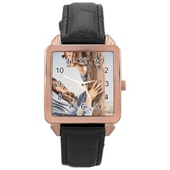 Stabat Mater Rose Gold Leather Watch