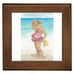 Beach Play Sm Framed Ceramic Tile
