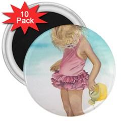 Beach Play Sm 3  Button Magnet (10 pack)