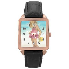 Beach Play Sm Rose Gold Leather Watch
