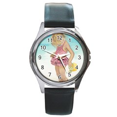 Beach Play Sm Round Leather Watch (Silver Rim)