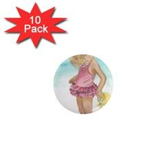 Beach Play Sm 1  Mini Button Magnet (10 pack)