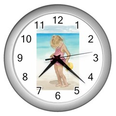 Beach Play Sm Wall Clock (Silver)