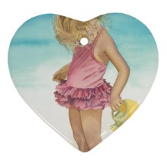 Beach Play Sm Heart Ornament (two Sides)