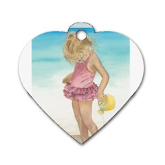 Beach Play Sm Dog Tag Heart (One Sided)