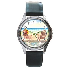 Time To Relax Round Leather Watch (Silver Rim)