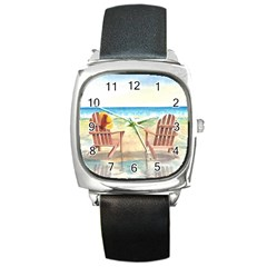 Time To Relax Square Leather Watch