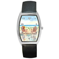 Time To Relax Tonneau Leather Watch