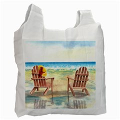 Time To Relax White Reusable Bag (one Side)