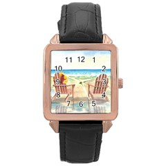 Time To Relax Rose Gold Leather Watch