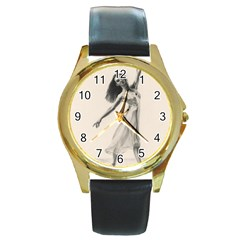Perfect Grace Round Leather Watch (Gold Rim)