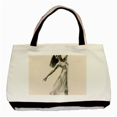 Perfect Grace Twin-sided Black Tote Bag