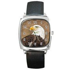Eagle Square Leather Watch