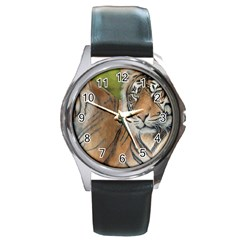 Soft Protection Round Leather Watch (Silver Rim)