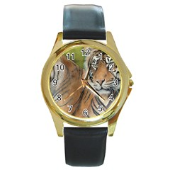 Soft Protection Round Leather Watch (gold Rim)