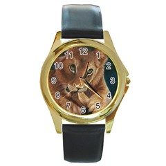 Playful  Round Leather Watch (Gold Rim)