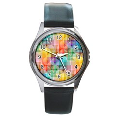 circles Round Leather Watch (Silver Rim)
