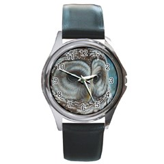 Barred Owl Round Leather Watch (Silver Rim)