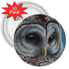 Barred Owl 3  Button (10 Pack)