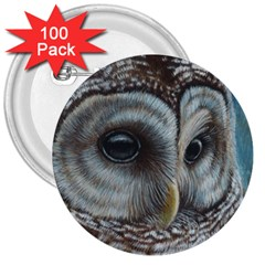 Barred Owl 3  Button (100 pack)