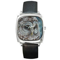 Barred Owl Square Leather Watch