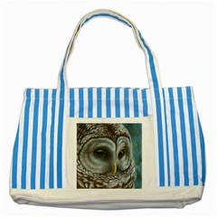 Barred Owl Blue Striped Tote Bag