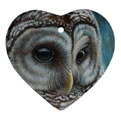 Barred Owl Heart Ornament (Two Sides)