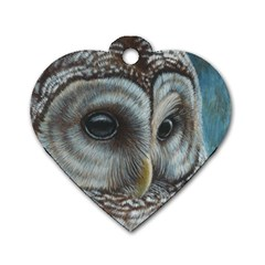 Barred Owl Dog Tag Heart (One Sided)