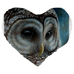 Barred Owl 19  Premium Heart Shape Cushion