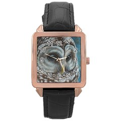 Barred Owl Rose Gold Leather Watch