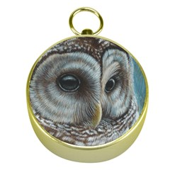 Barred Owl Gold Compass