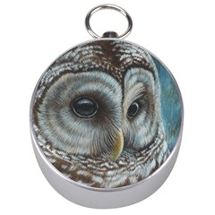 Barred Owl Silver Compass