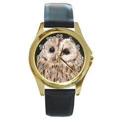 Tawny Owl Round Leather Watch (Gold Rim)