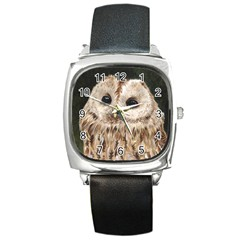 Tawny Owl Square Leather Watch