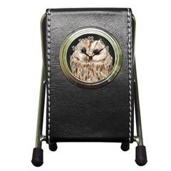 Tawny Owl Stationery Holder Clock