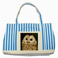 Tawny Owl Blue Striped Tote Bag