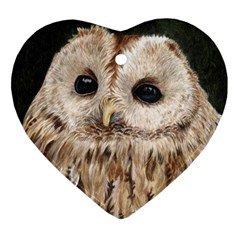 Tawny Owl Heart Ornament (two Sides)