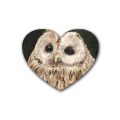 Tawny Owl Drink Coasters 4 Pack (Heart)