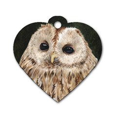 Tawny Owl Dog Tag Heart (One Sided)